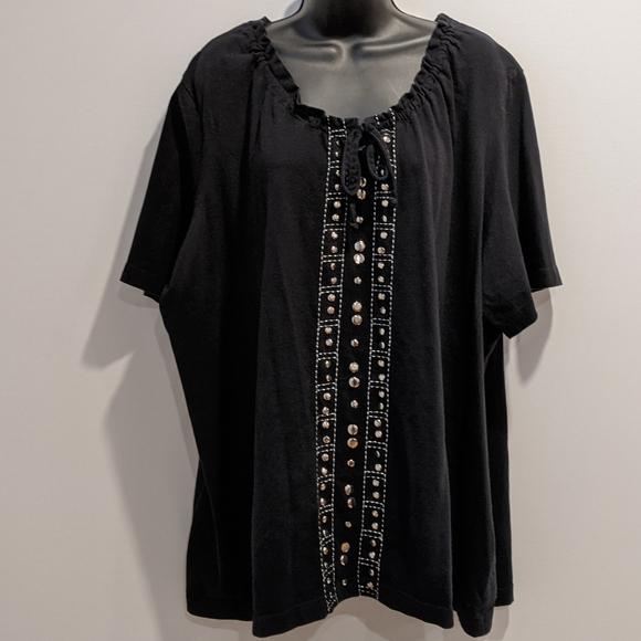 2/$20 Pennington's black embellished t shirt 4X